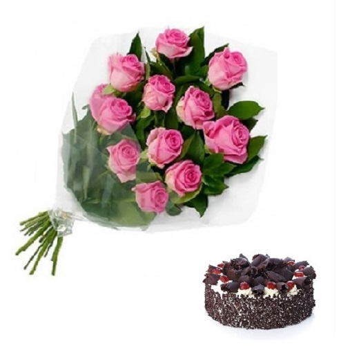 Fresh Flower Bouquet Of 12 Pink Roses With Black Forest Cake - FFCO12PRBF (Standard (09:00,12:00),Regualr with egg,0.5 Kg)