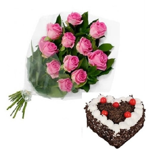 Fresh Flower Bouquet Of 12 Pink Roses With  Heart Shape Black Forest Cake - FFCO12PRHBF (Standard (09:00,12:00),Regualr with egg,1.0 Kg)
