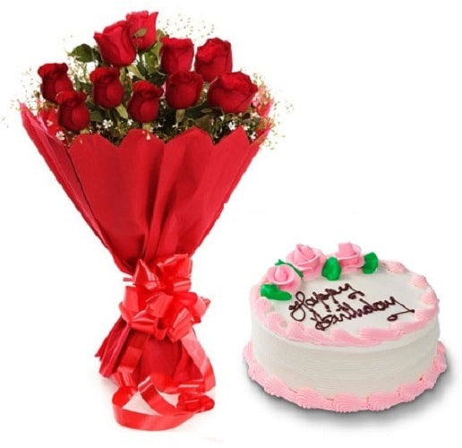 Fresh Flower Bouquet Of 12 Red Roses With Strawberry Cake - FFCO12RRSB (Standard (09:00,12:00),Regualr with egg,0.5 Kg)