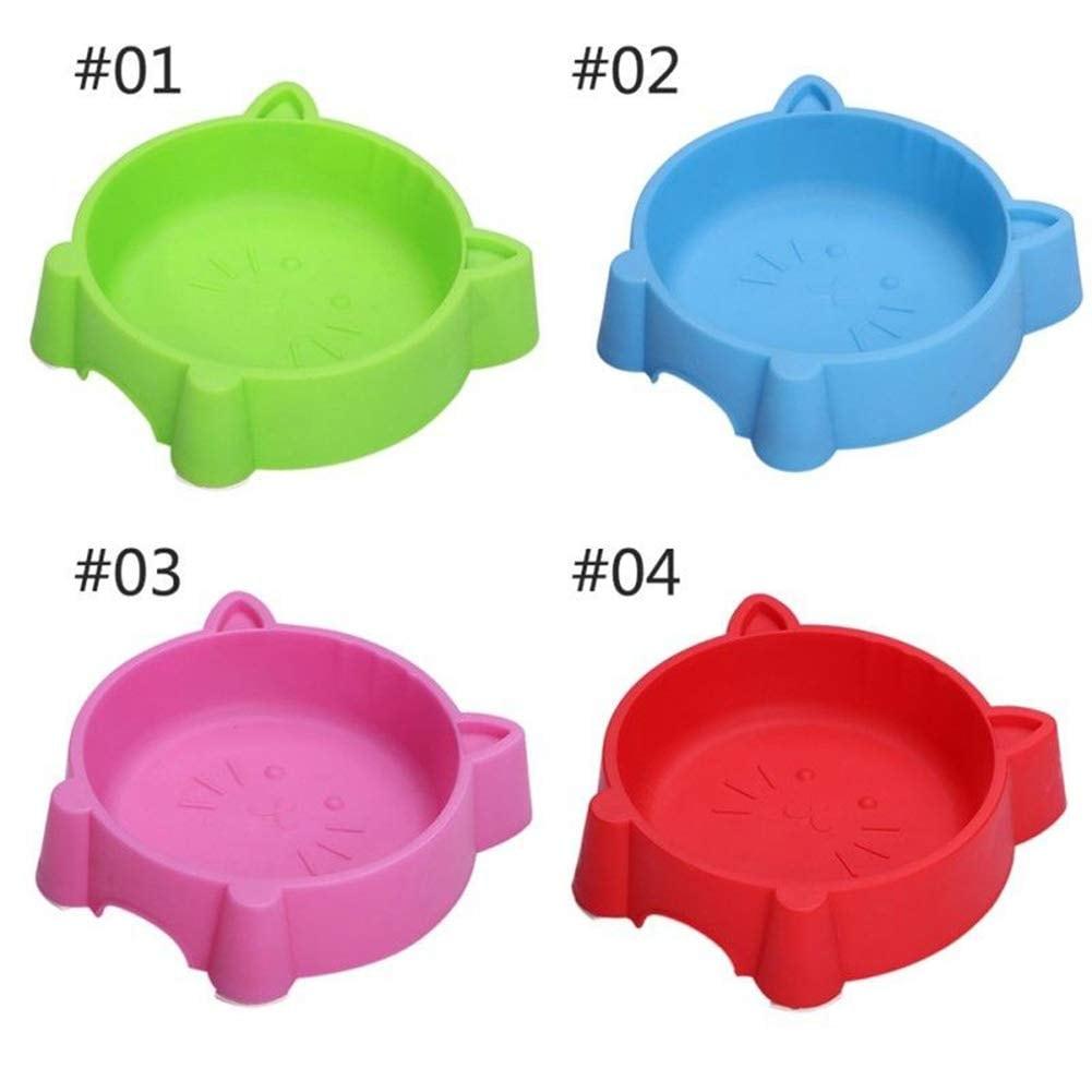 Pets Empire Pet Plastic Bowl Bowl Plastic Non-Slip Cat Face Shape Dogs Bowl  (17 * 18 * 4.5cm) 1 Piece (Blue)