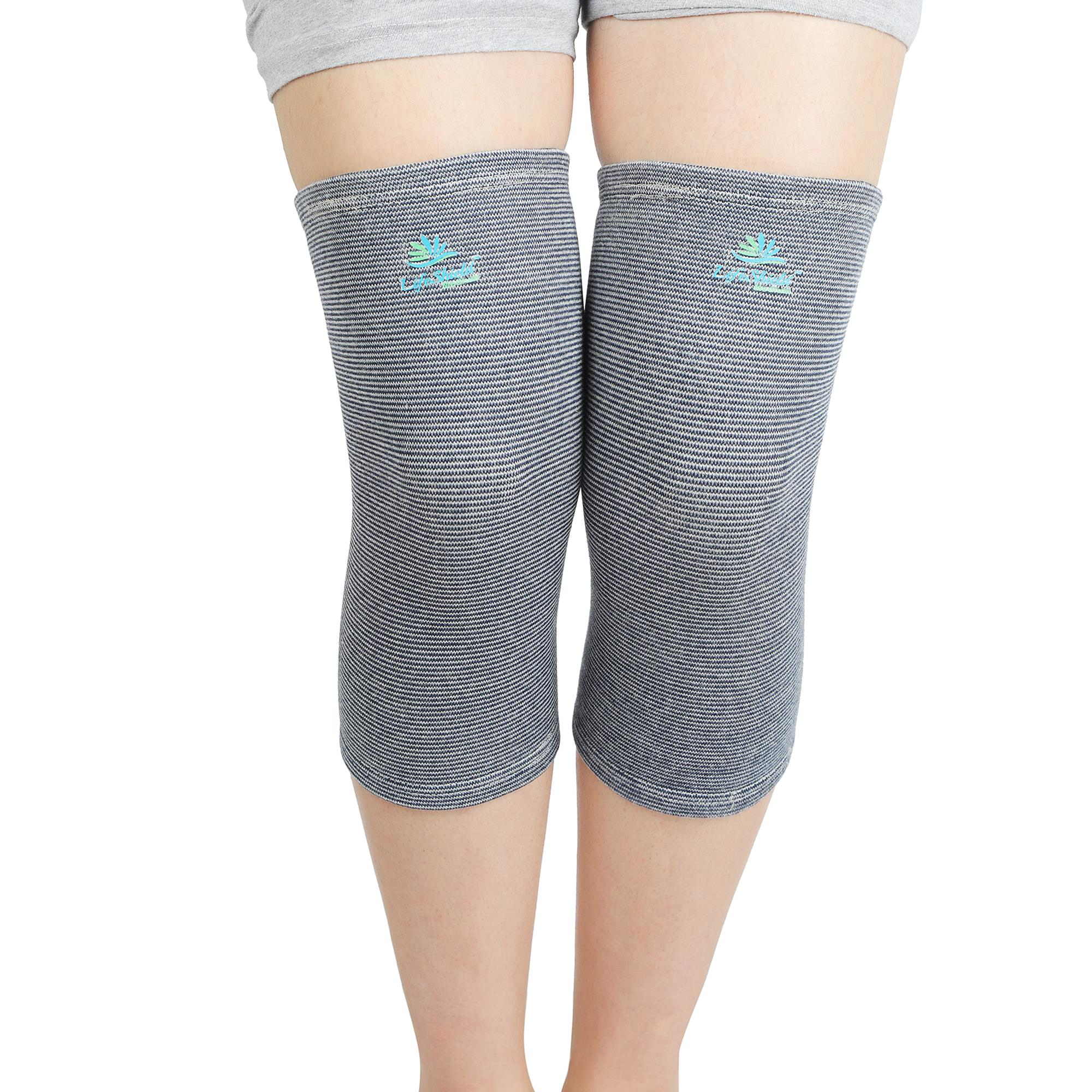 Lifeshield Knee Cap - 4 Way Cotton (Pair): Helps In Knee Joint Pain, Relief By Compressing Muscles And Veins (Medium)
