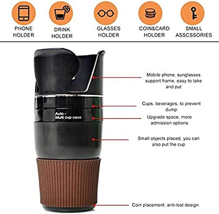 Adjustable CAR Multi Cup Holder Tumbler 5 In 1 Holder Multi Cup Case For Car, Sunglasses, Cup, Mobile, Storage Etc