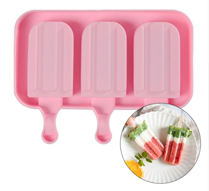 3 Cavities Silicone Rectangle Oval Chocolate Lollipop Ice Cream Popsicle Cakesicles Moulds - Divena In
