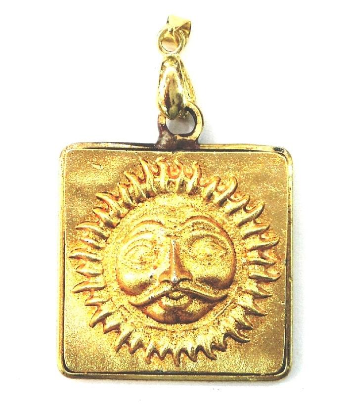 Numeroastro Shri Surya Yantra Golden Brass Pendant For Men And Women (1 Pc)