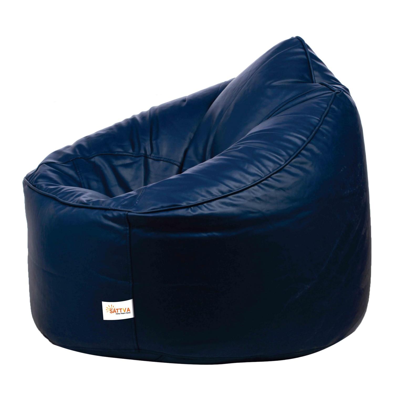 Sattva Muddha Sofa XXXL Bean Bag (with Beans) XXXL - Black (XXXL, Navy Blue)