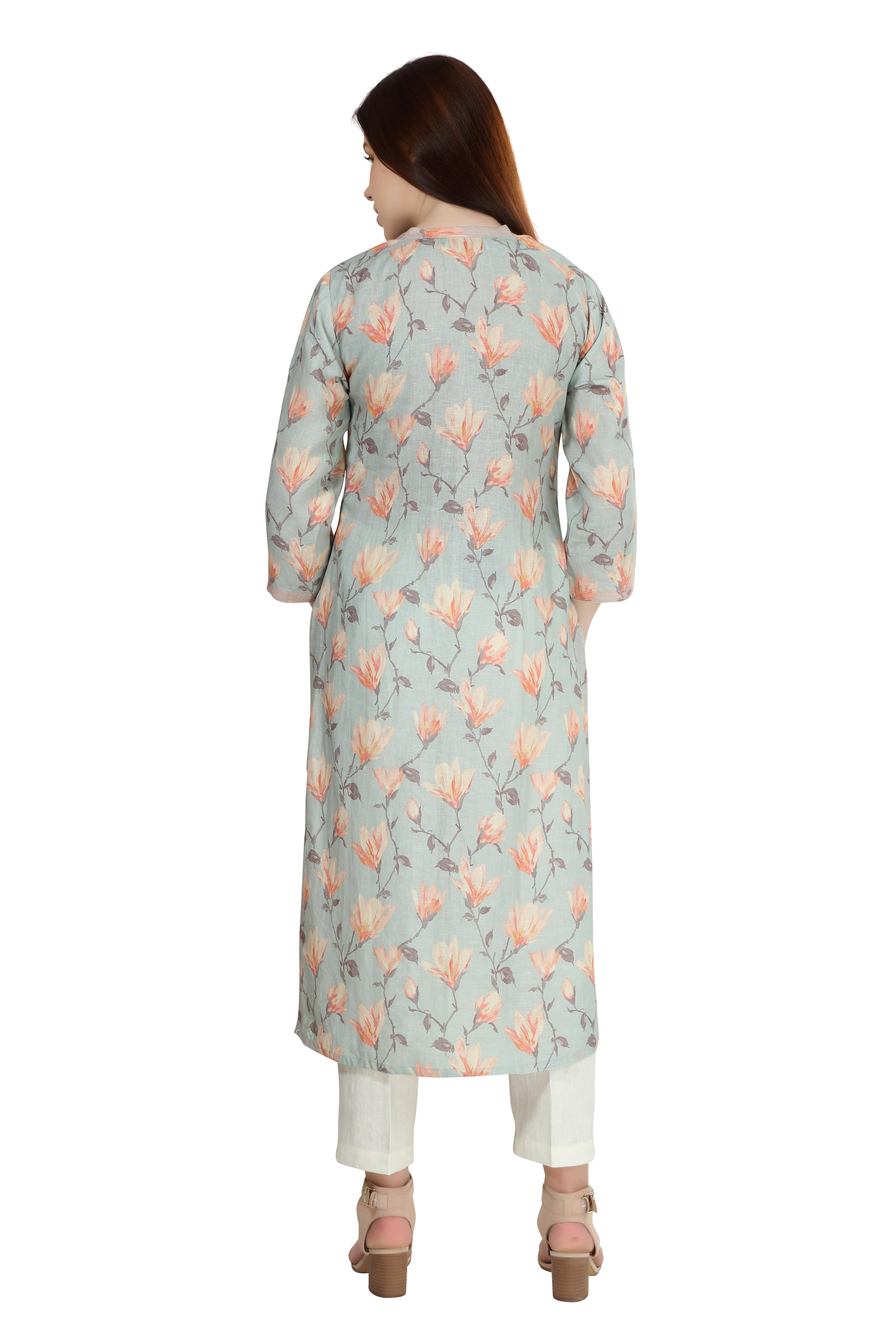 190258 Duck Egg And Coral Printed Linen Tunic XS - Duck Egg And Coral (XS,Duck Egg and Coral)