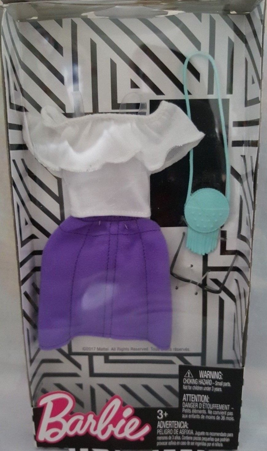 Barbie Complete Look Fashion Doll Outfit [ FND47 ] (WHITE TOP PURPLE SKIRT & Accessories [ FKT01 ])