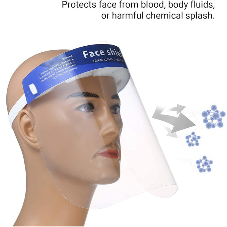 Protective Face Shield Durable Clear Plastic Direct Splash Protection (PPE)