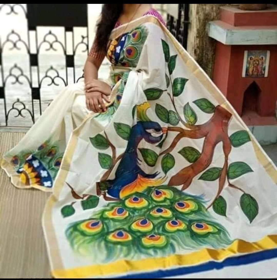 Block Printed Kerala Cotton Saree With BP
