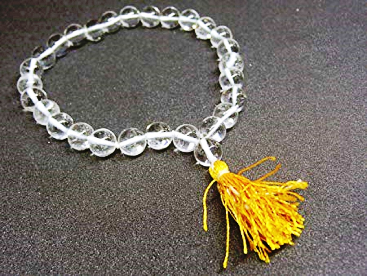 Numeroastro Beautifully Handcrafted Crystal/Sphatik Round Beads Mala For Jaap (27 Beads) (1 Pc)