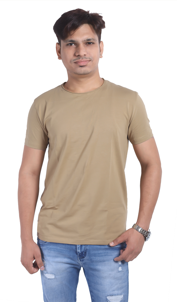 Light Brown Half Sleeve Round Neck T Shirt For Men (L)