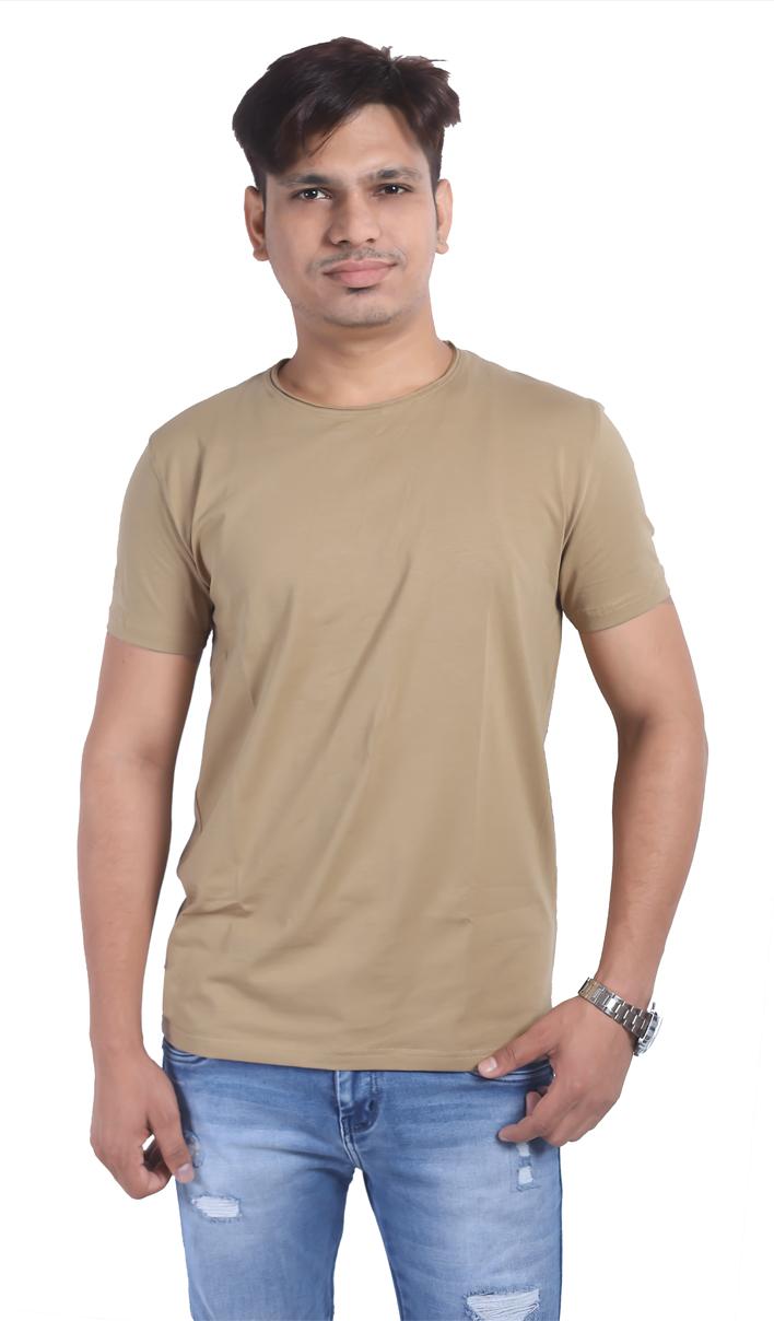 Light Brown Half Sleeve Round Neck T Shirt For Men (L)