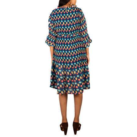 Multi Polka Dots All Over Print Plus Tie Dress For Women (FS,Blue (Multi Polka Dots))