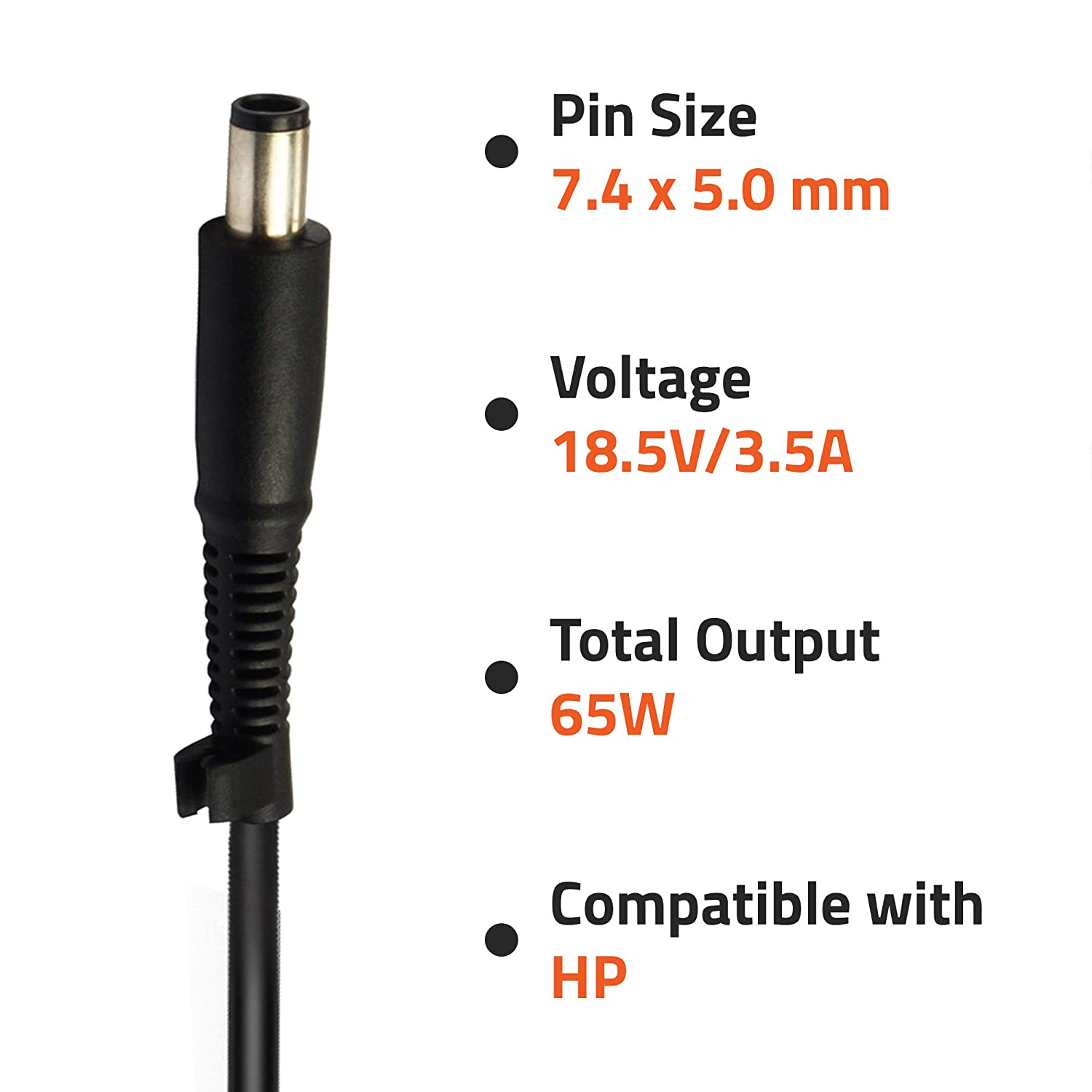 Artis AR0505 65Watt Laptop Charger/Adapter With Power Cord Compatible With HP Laptops (18.5V/3.5A, 65Watt) (Pin Size: 7.4mm X 5.0mm) (BIS Certified)