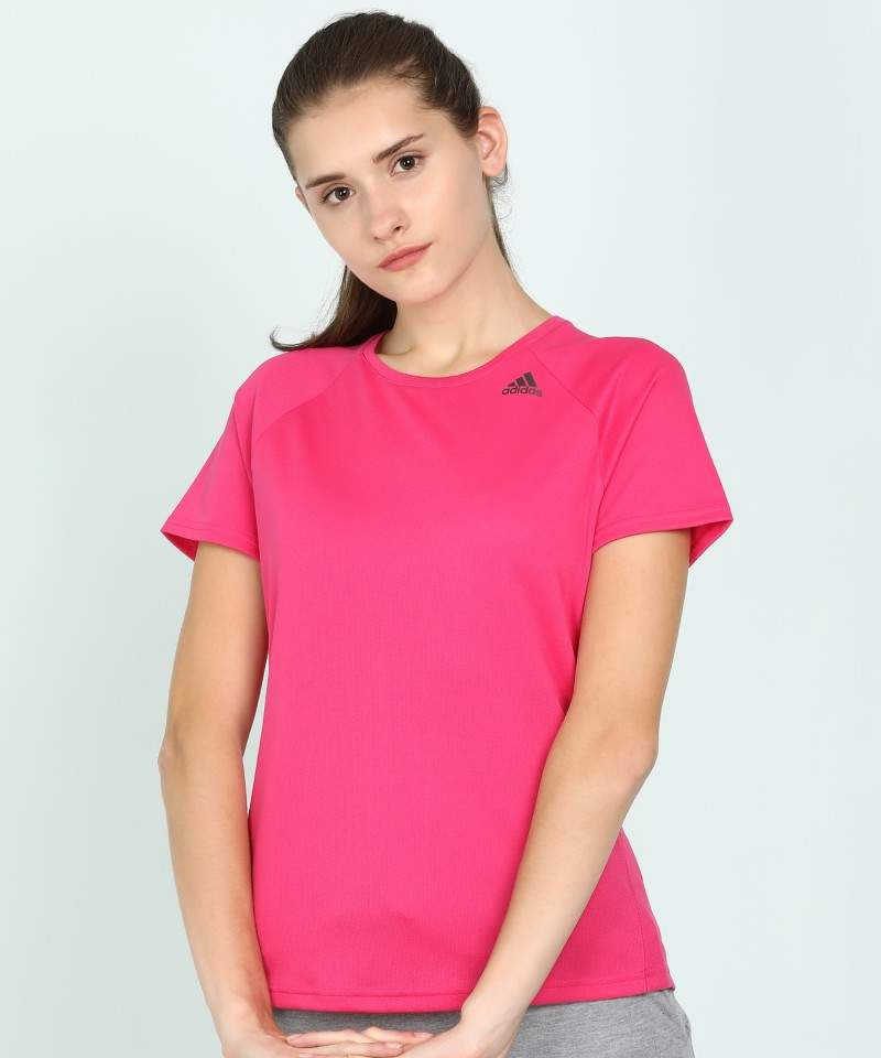 Adidas Self Design Women Round Neck Pink T-Shirt