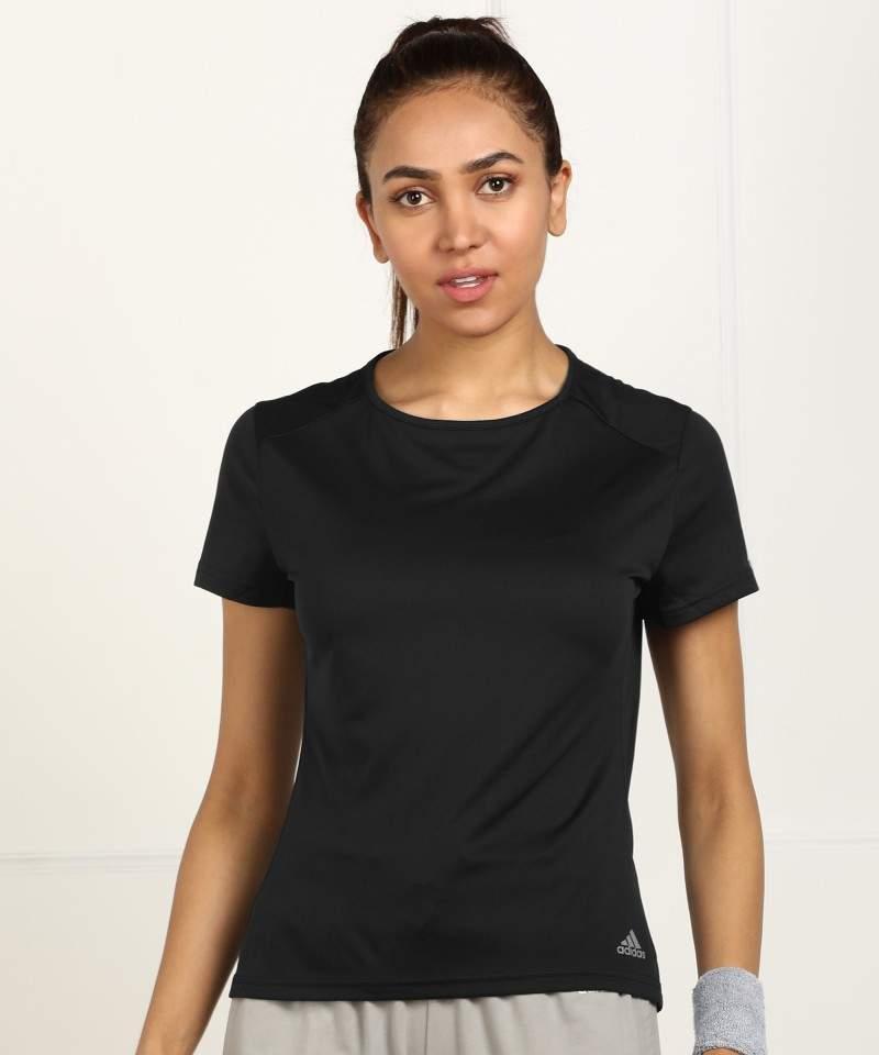 Adidas Solid Women Round Neck Black T-Shirt