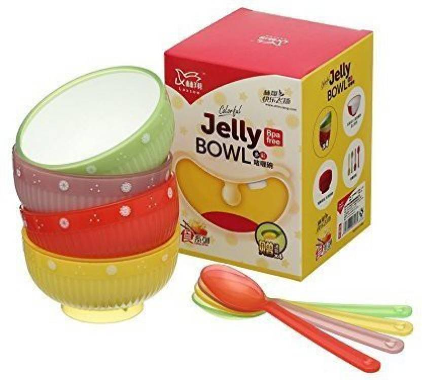 Colorful Jelly (4 Bowls & 4 Spoons) Plastic Bowl Set [ PXH ] (Multicolor, Pack Of 4) LX-753