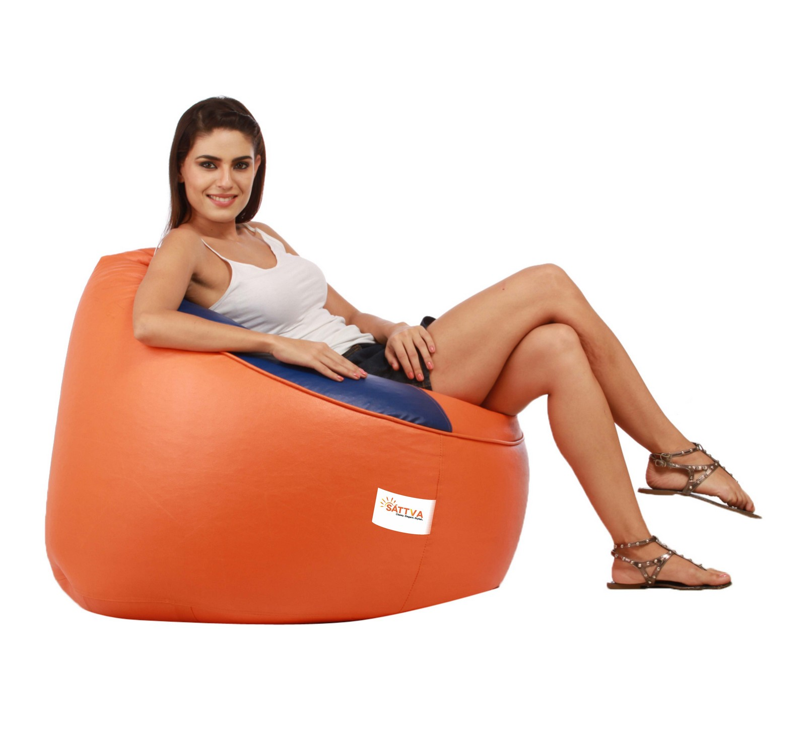Sattva Muddha Sofa XXXL Bean Bag (with Beans) Dual Colour XXXL - Black Red (XXXL, Orange Royal Blue)