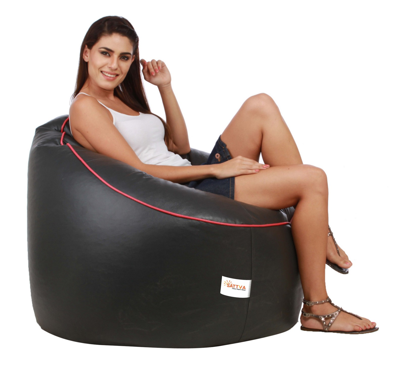 Sattva Muddha Sofa XXXL Bean Bag With Piping Design (with Beans) XXXL - Orange With Navy Blue Piping (XXXL, Black With Pink Piping)