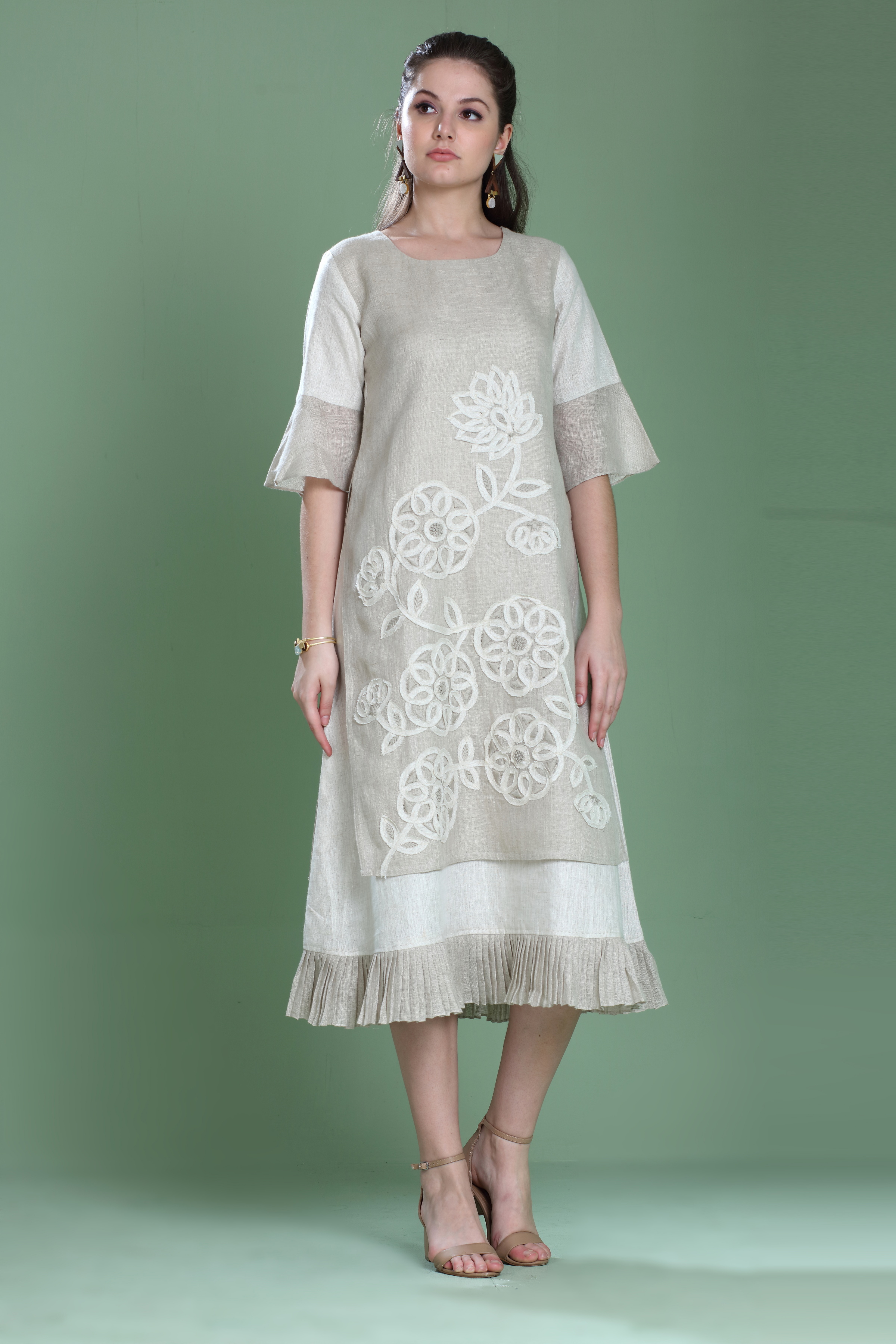 180928 Natural Layered Dress With Applique Fray Embroidery XS - Natural (XL,Natural)