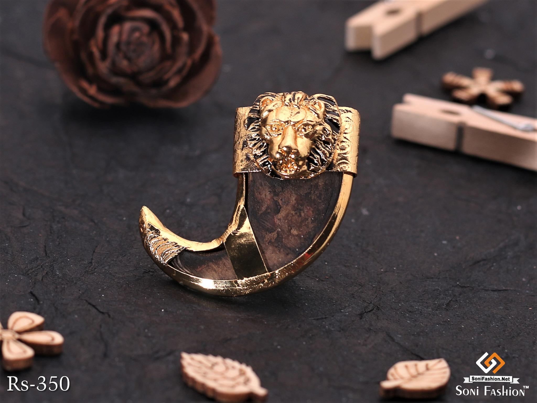 Gold Plated Lion Face Lion Nail Pendant For Men
