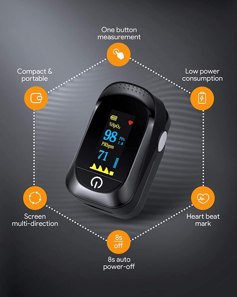 TryBhi Oxygen Saturation Monitor Portable OLED Display Fast Accurate Precision Reading Alarm Function For Adults And Children