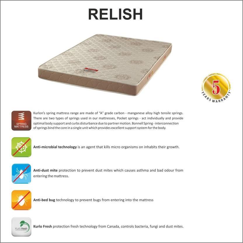Kurl-on Relish 6 Inch Single Pocket Spring Mattress (78 x 72 x 6 inch)