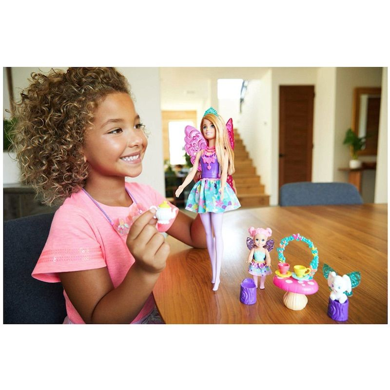BARBIE DREAMTOPIA TEA PARTY PLAYSET WITH FAIRY DOLL AND ACCESSORIES GJK49