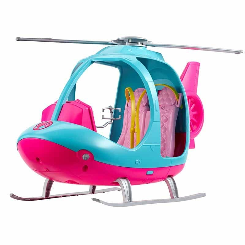 BARBIE TRAVEL PINK AND BLUE HELICOPTER WITH SPINNING ROTORS FWY29