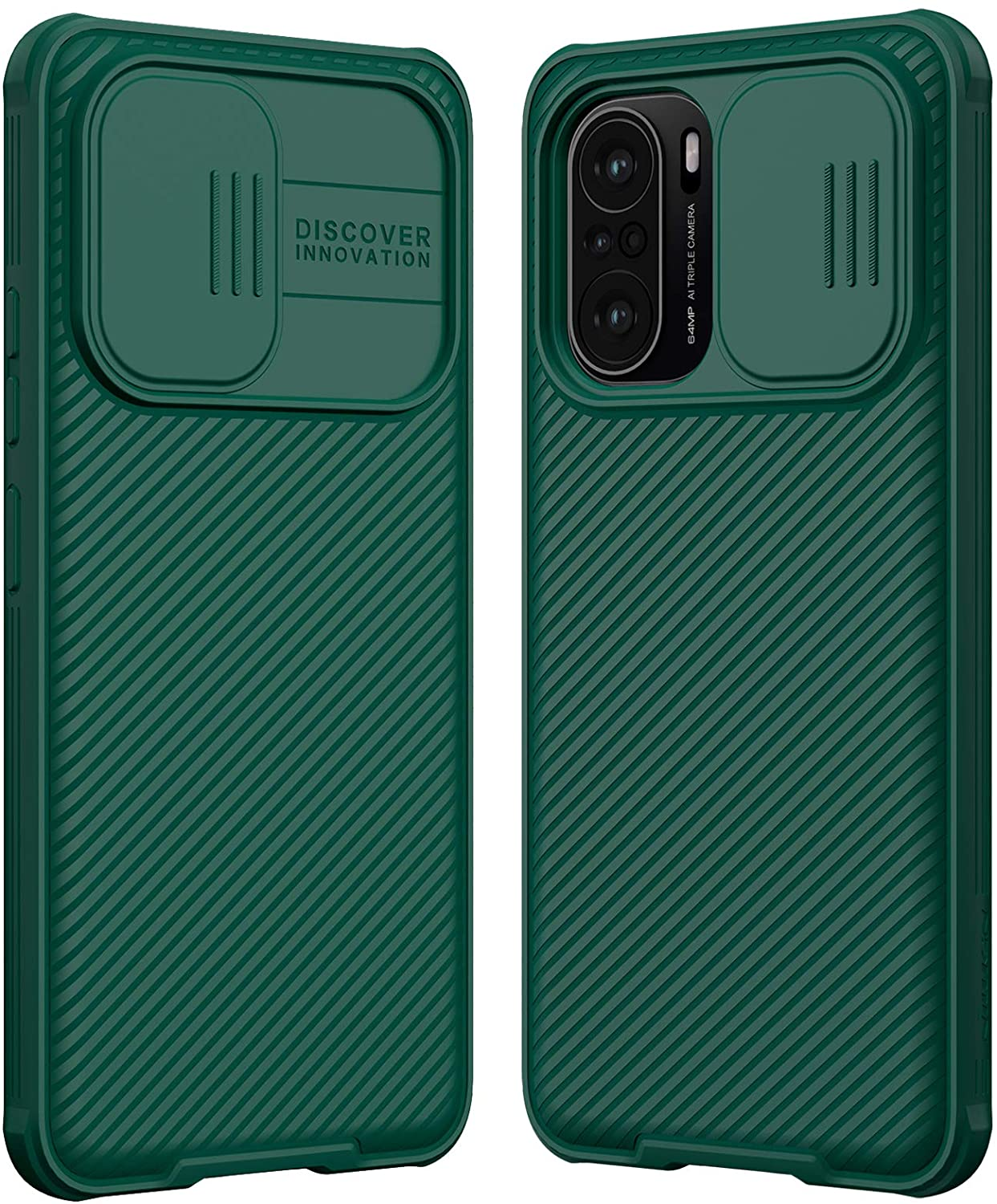 TPU Bumper PC Back Cover For Xiaomi Poco F3 GT Slide Lens Privacy Protection Shockproof Protective Case (Green)