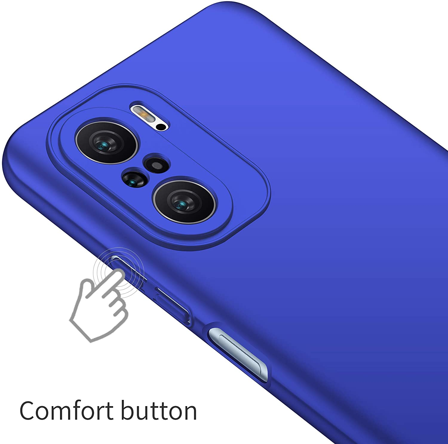 Protective Sturdy Case For Xiaomi Redmi K40 With Shock-Proof, Friction-Resistant ,Thin And Light Features (Blue)