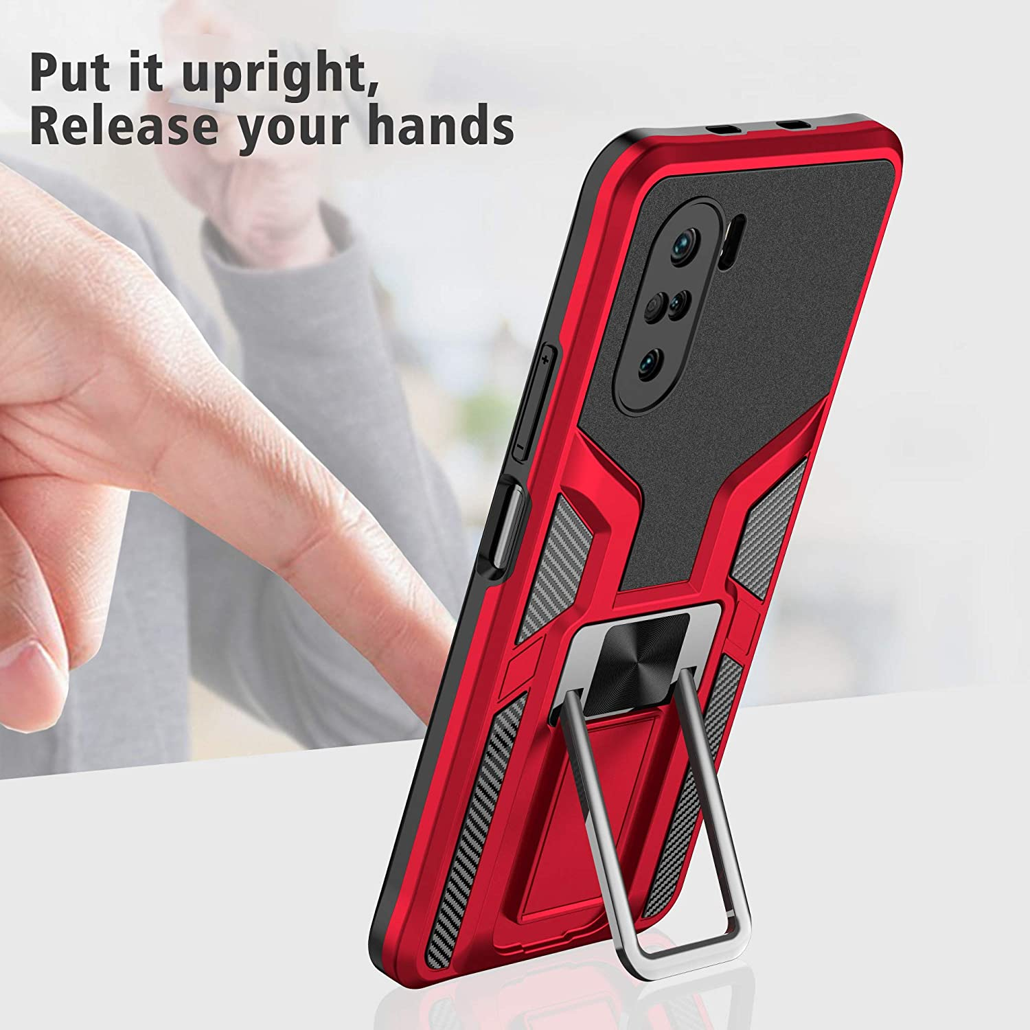 Military Grade Phone Case For Xiaomi Redmi K40 Magnetic Sheet Two-Way Stand Shockproof Heavy Duty Protective Case (Red)