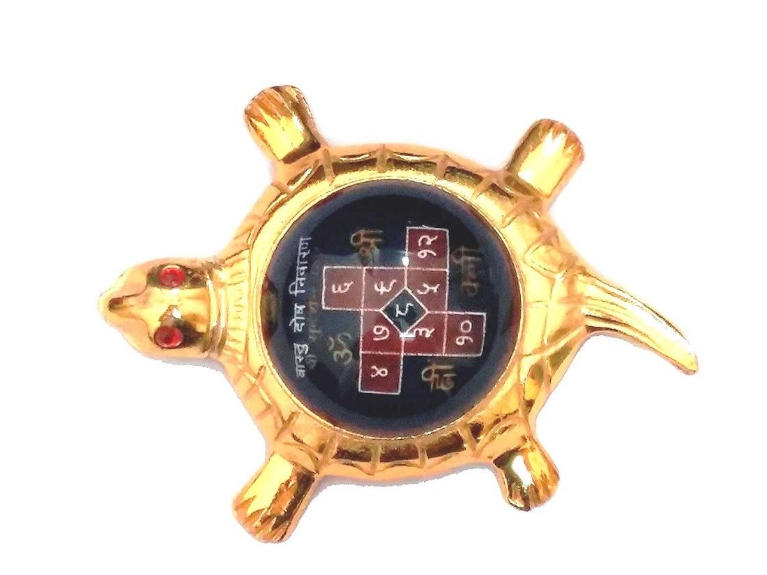 Numeroastro Vastu Dosh Nivaran Yantra On Brass Turtle | Tortoise (11 Cms) (Small) (1 Pc)