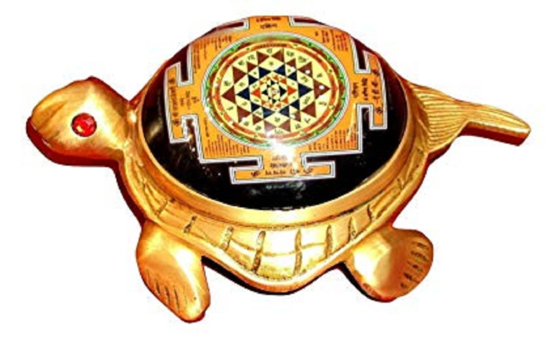 Numeroastro Shri Yantra Turtle/Tortoise In Brass (Big) (19 Cms) (1 Pc)