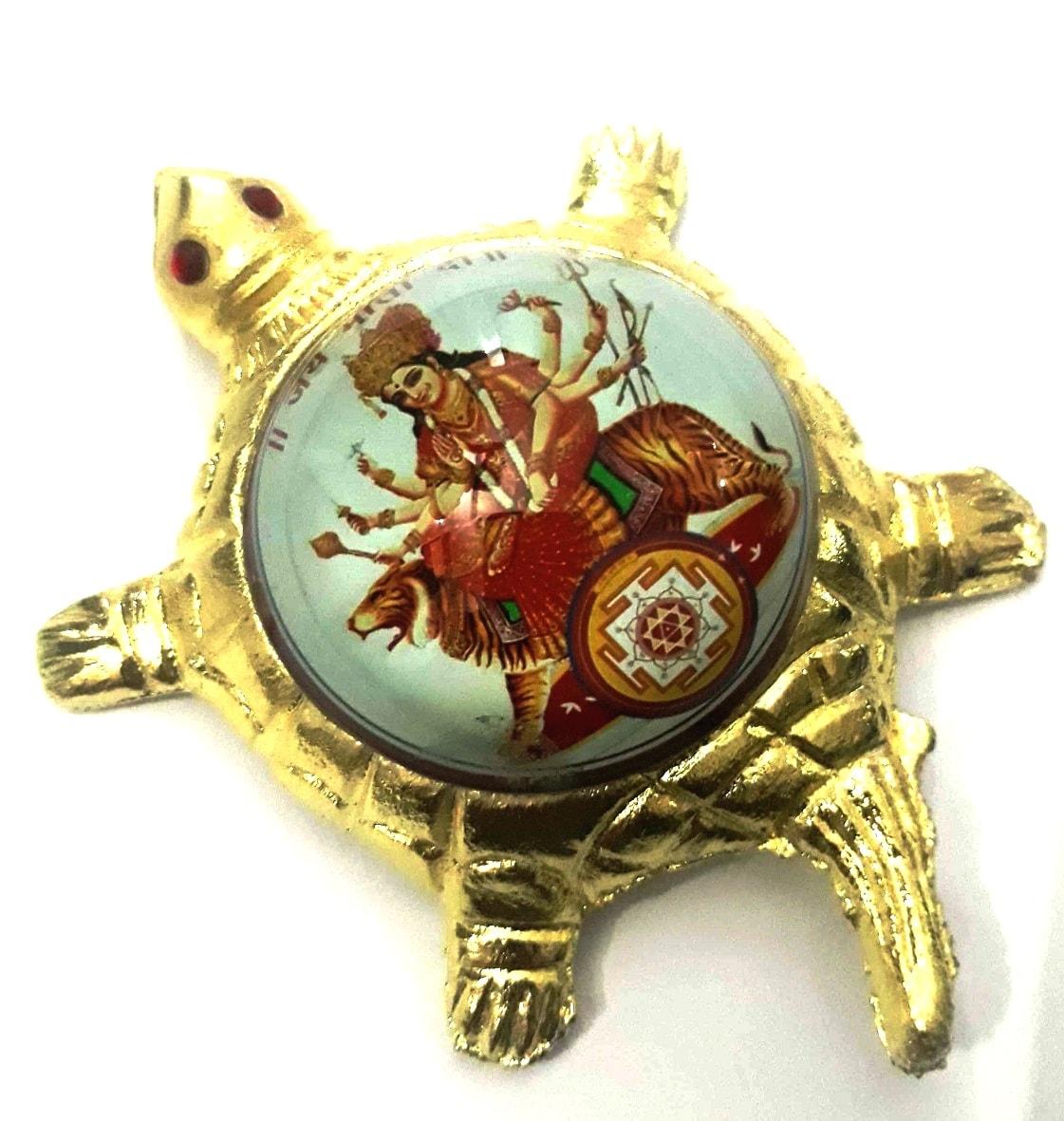 Numeroastro Jai Mata Di   Maa Durga Yantra On Brass Turtle/Tortoise (Small) (11 Cms) (1 Pc)