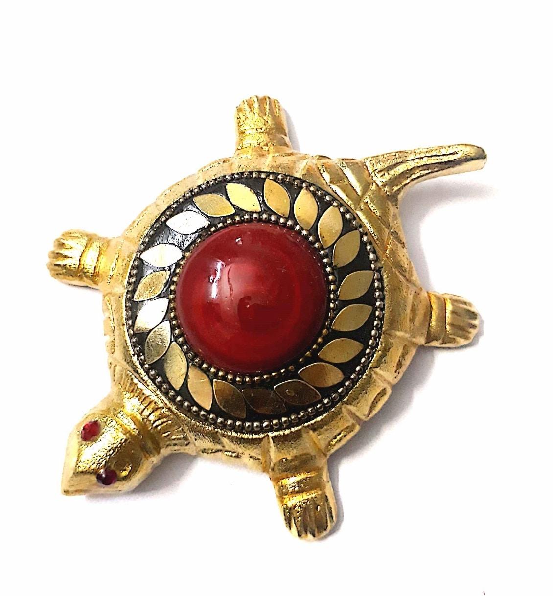 Numeroastro Shri Vyapar Vridhi Yantra On Brass Turtle | Tortoise (Small) With Golden Beaded Design (Red) (11 Cms) (1 Pc)
