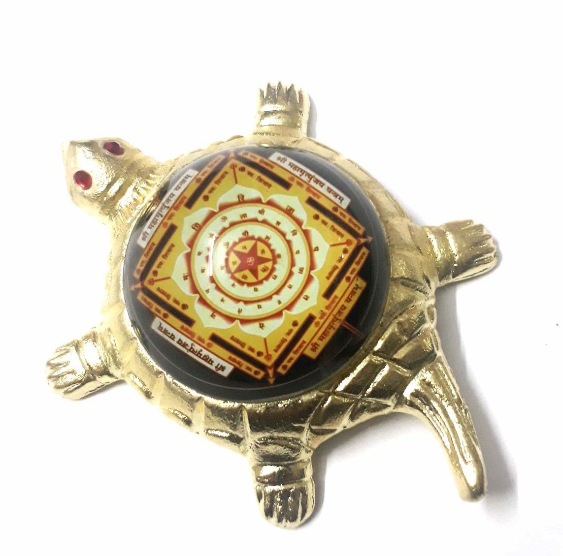 Numeroastro Shri Mahamrityunjay Yantra On Brass Turtle/Tortoise (Small) (11 Cms) (1 Pc)