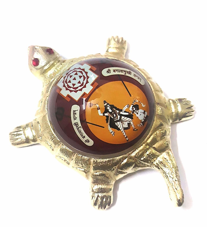 Numeroastro Shri Baglamukhi Yantra On Brass Turtle/Tortoise (Small) (11 Cms) (1 Pc)