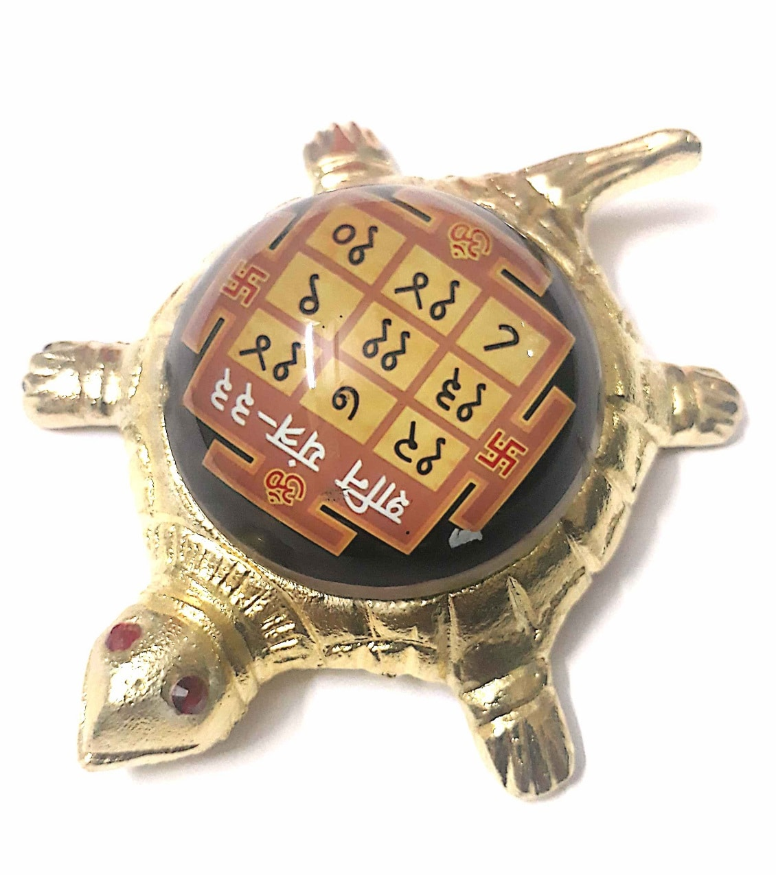 Numeroastro Shri Shani Yantra On Brass Turtle/Tortoise (Small) (11 Cms) (1 Pc)
