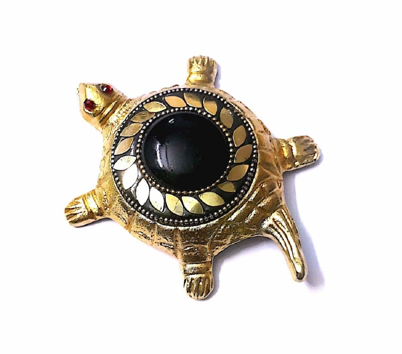 Numeroastro Shri Vyapar Vridhi Yantra On Brass Turtle | Tortoise (Small) With Golden Beaded Design (Black) (11 Cms) (1 Pc)