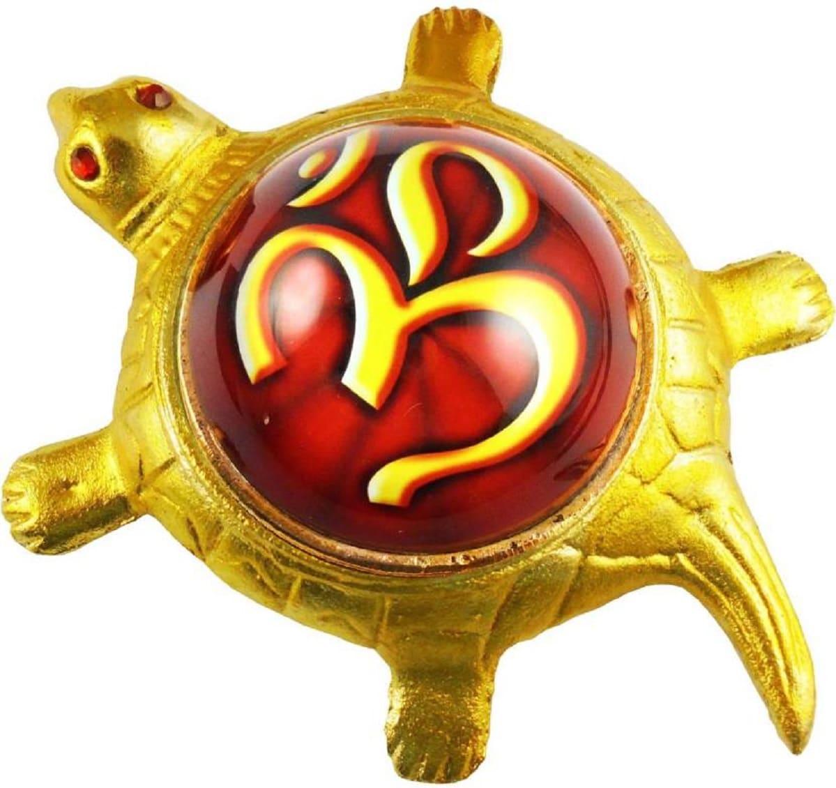 Numeroastro Om | Aum Yantra On Brass Turtle | Tortoise For Health,Wealth,Good Luck & Longivity (Small) (11 Cms) (1 Pc)