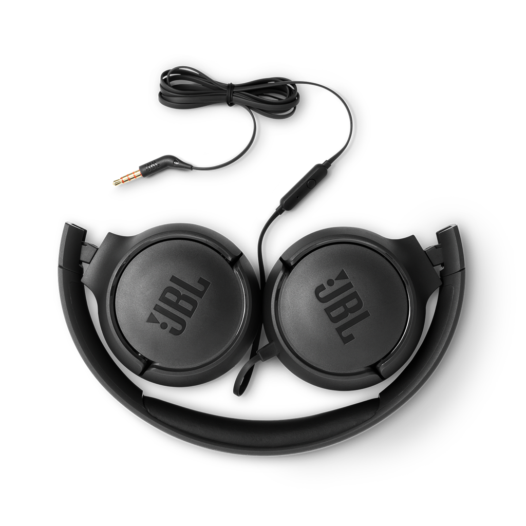 JBL Tune 500 Powerful Bass On-Ear Headphones With Mic (Black)