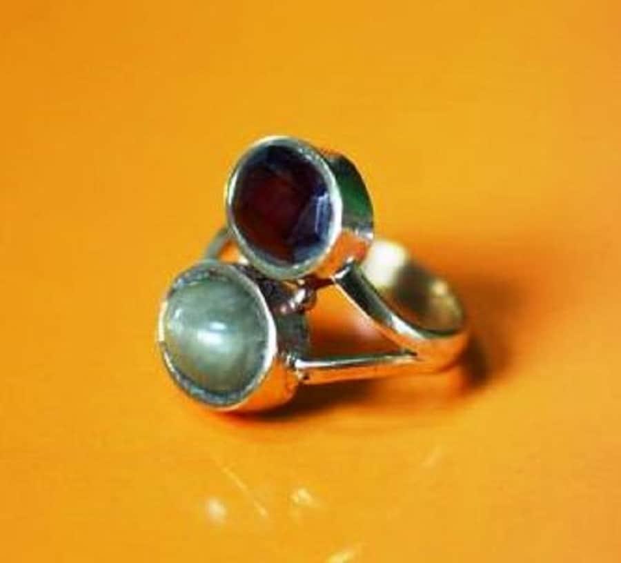 Numeroastro Garnet & Cats Eye Gemstones Adjustable Ring For Rahu-Ketu (1 Pc)