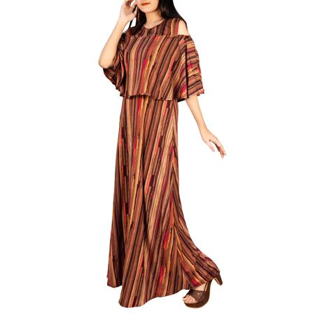 Casual Chic Multi Striped Cold Shoulder Gown For Women (FS,Brown Stripe)