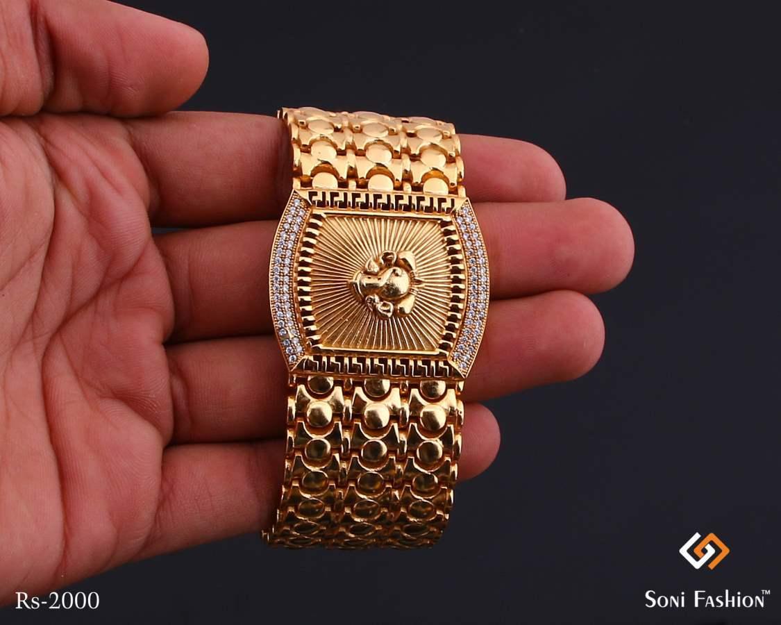 Curved Rectangle Ganpati Design Golden Diamond Bracelet