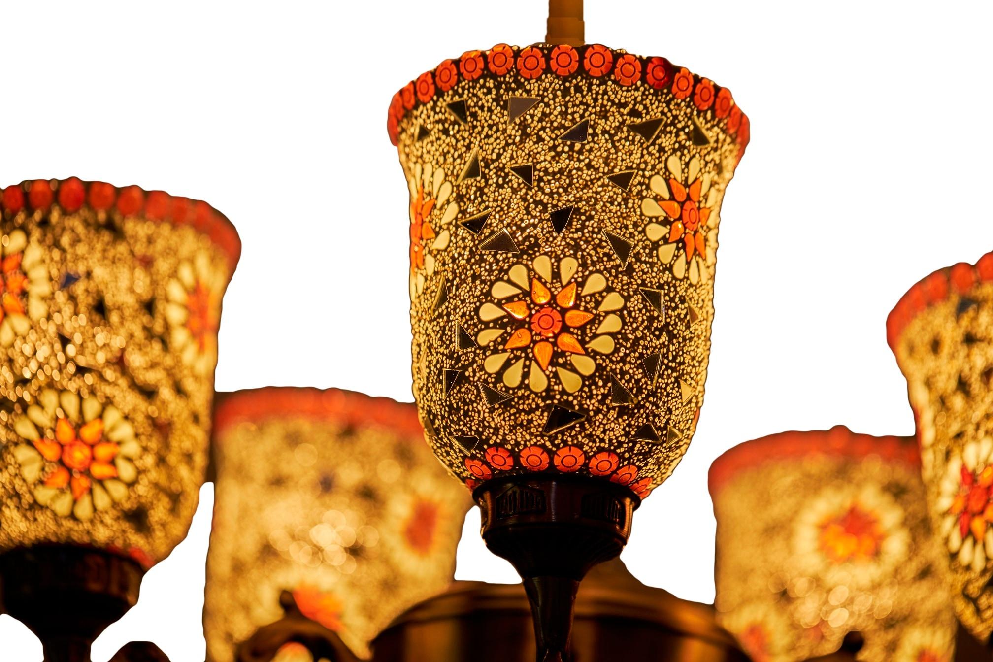 Aura 5 Head Chandelier Orange Flowers Mosaic Glass Customizable