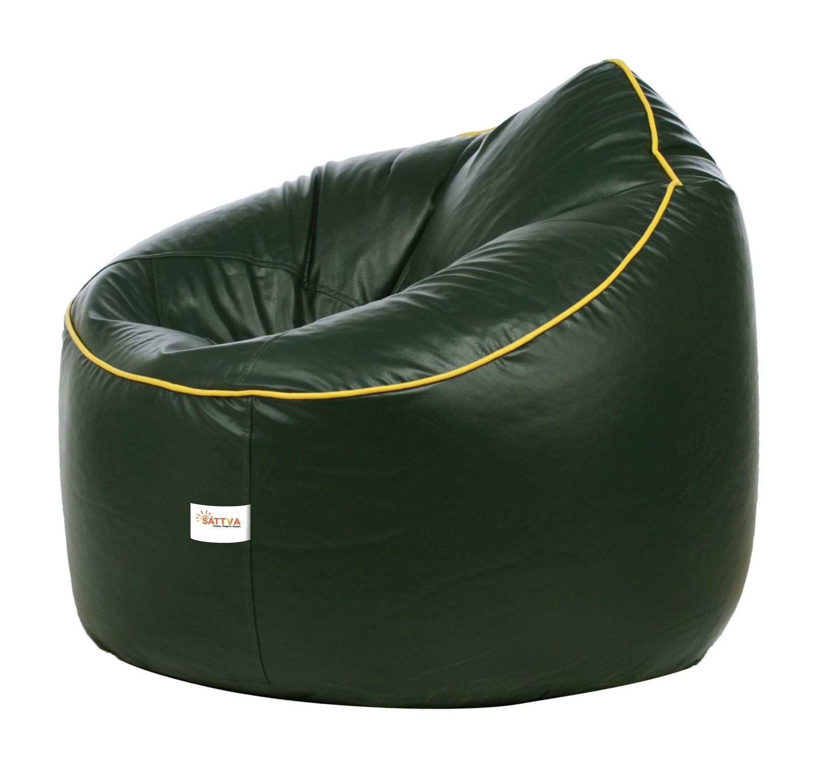 Sattva Muddha Sofa XXXL Bean Bag With Piping Design (with Beans) XXXL - Dark Green With Yellow Piping (XXXL, Dark Green With Yellow Piping)