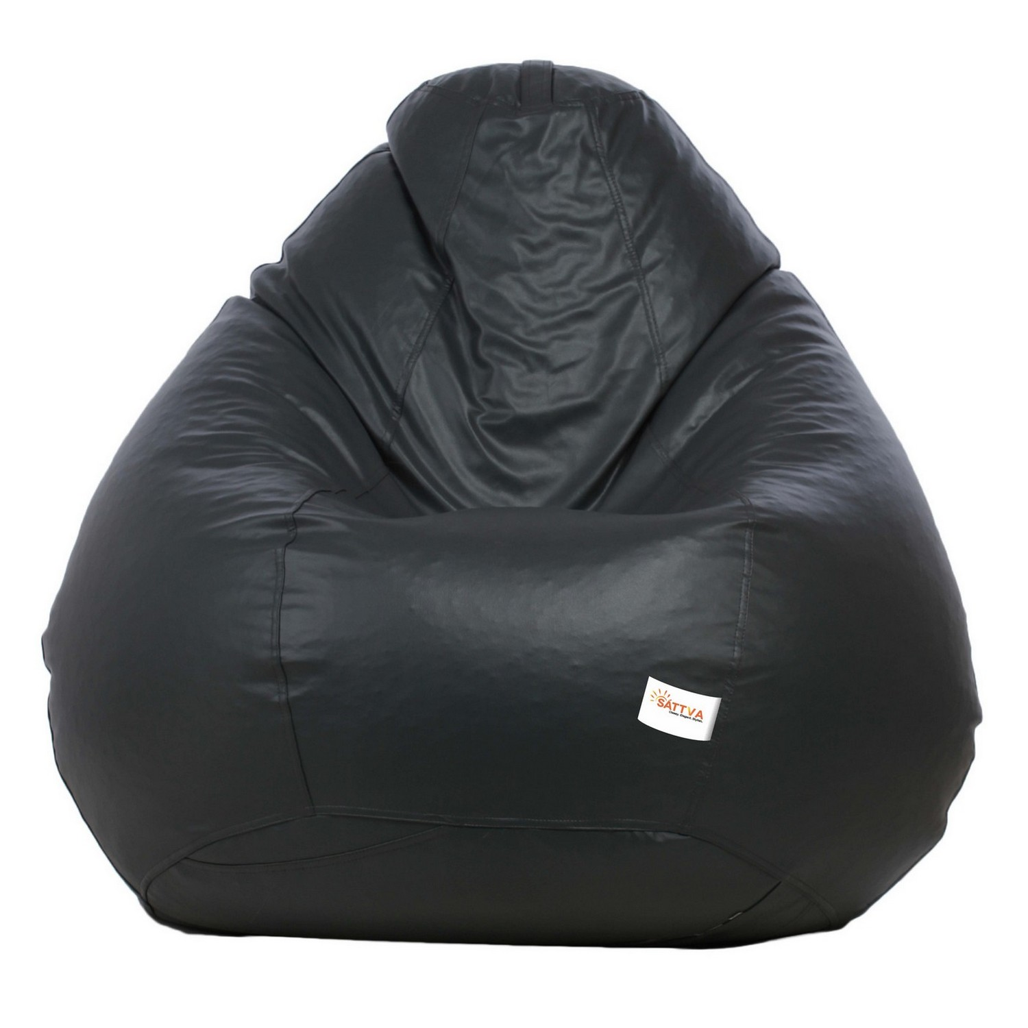 Sattva Combo Classic Bean Bag And Round Foostool-(Filled) Black With Pink Piping - XL (Grey with pink Piping, XL)