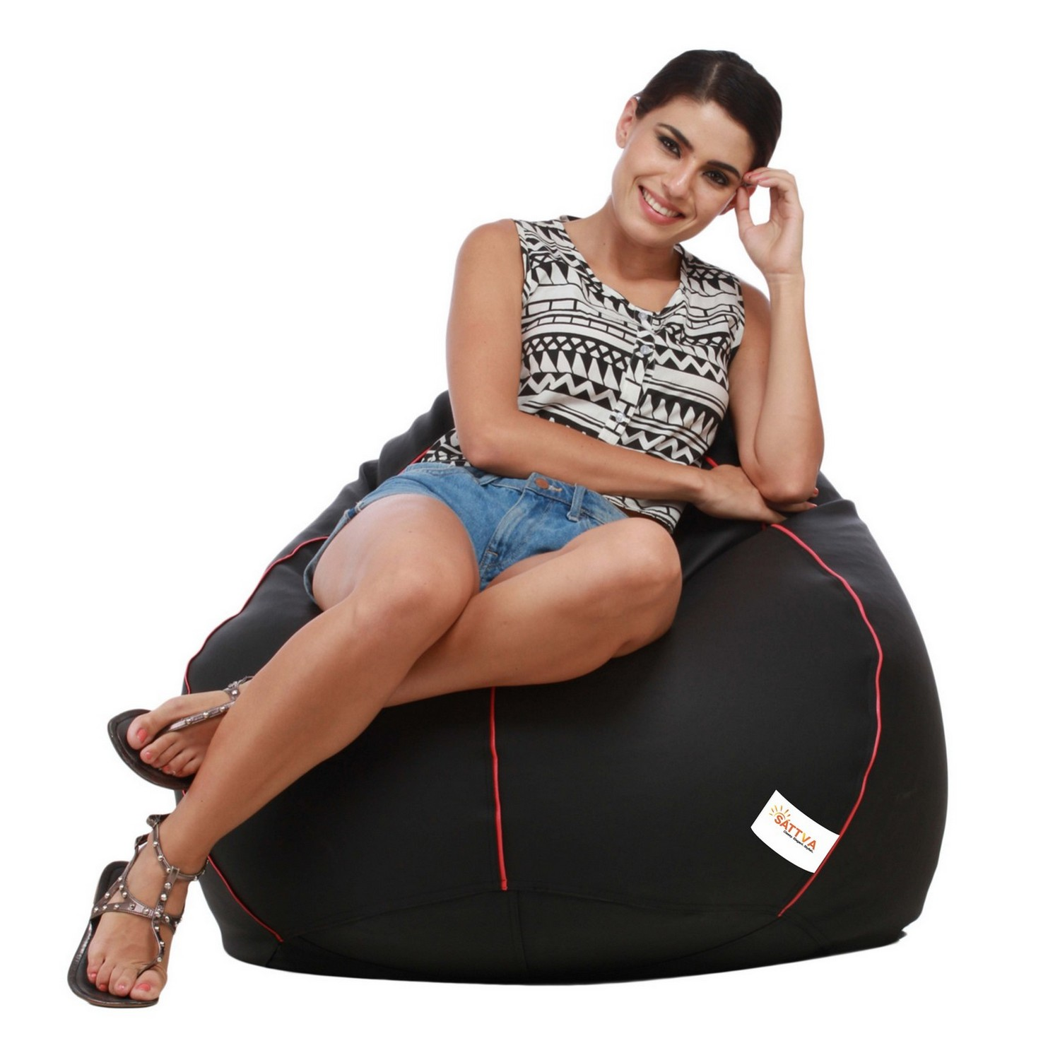 Sattva Combo Classic Bean Bag And Round Foostool-(Filled) Black With Pink Piping - XL (Black With Pink Piping,XXXL)