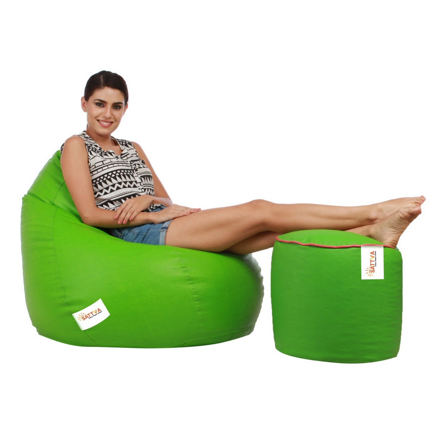 Sattva Combo Classic Bean Bag And Round Foostool-(Filled) Black With Pink Piping - XL (Neon Green with pink Piping,XL)